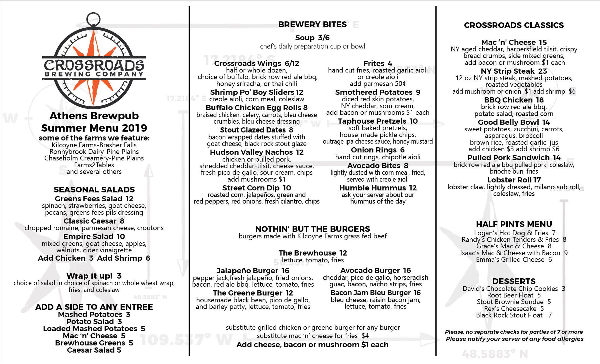 Athens Brewpub Summer 2019 Food Menu